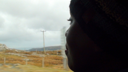 A woman looks out the window towards a dry orange landscape.