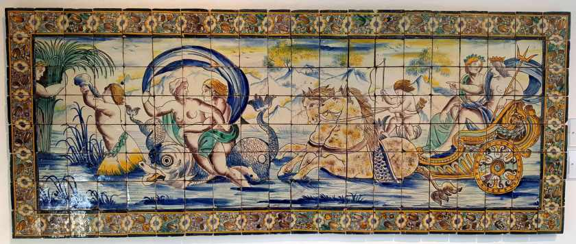 Painted tile mural with gods, goddesses and chariots