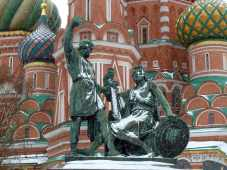 Bronze statue of ancient soldiers before St. Basil's Church, Red Square