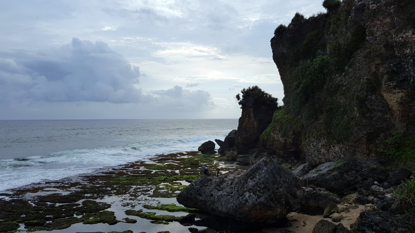 Sea rolls in along coastline with large rocks and jagged cliffs.