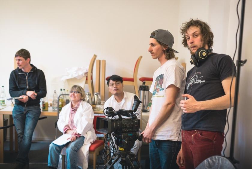 Filmmakers preparing a shot